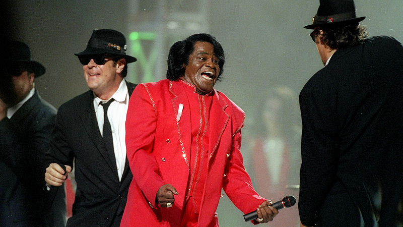 Dan Aykroyd, James Brown, and James Belushi