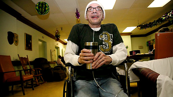 Saints Fan in hospital, New Orleans, LA Super Bowl Sunday 2010