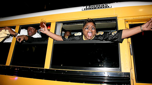 Saints Fans (post-win) woman on bus, New Orleans, LA-  Super Bowl XLIV