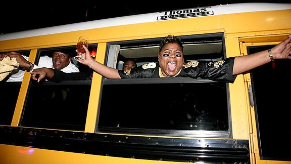 Saints Fans (post-win) woman on bus, New Orleans, LA-  Super Bowl XLIV