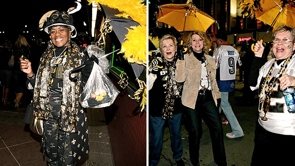 New Orleans, LA after Super Bowl XLIV- ladies with umbrellas