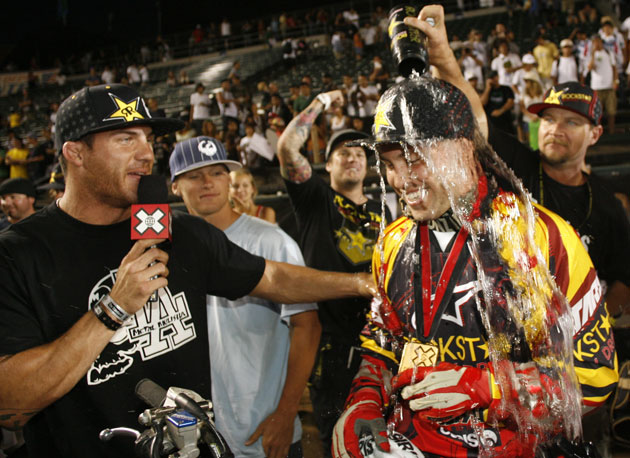 Jeremy Lusk celebrates his first X Games gold at the Home Depot Center in 2008.