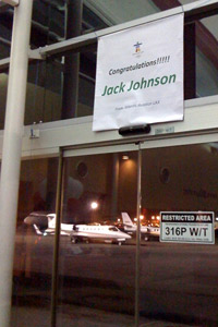 Congratulations sign for Jack Johnson