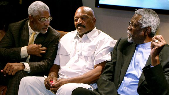 Julius Erving, NBA legend, Jim Brown, NFL legend and Bill Russell