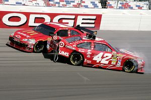 Jamie McMurray (1) and Juan Pablo Montoya (42)