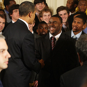 Barack Obama and Mark Ingram