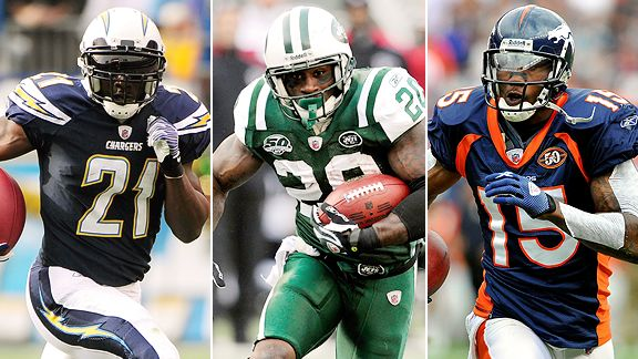 LaDainian Tomlinson, Thomas Jones and Brandon Marshall