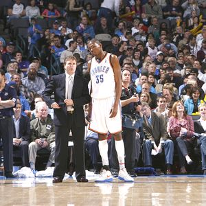 Scott Brooks and Kevin Durant