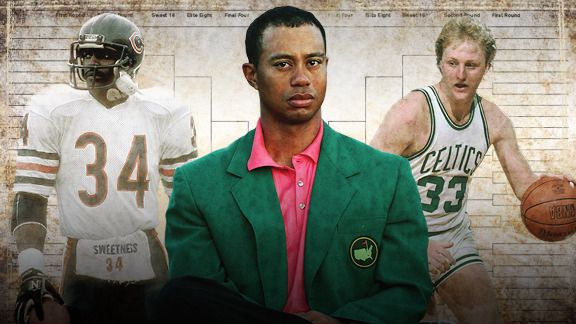 Walter Payton, Tiger Woods & Larry Bird
