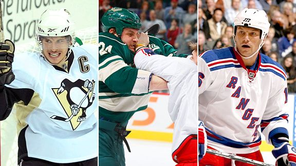 Sidney Crosby, Derek Boogaard, and Sean Avery