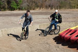 Jeff Gordon and Harry Dill riding bikes