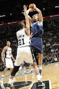 Dirk Nowitzki and Tim Duncan