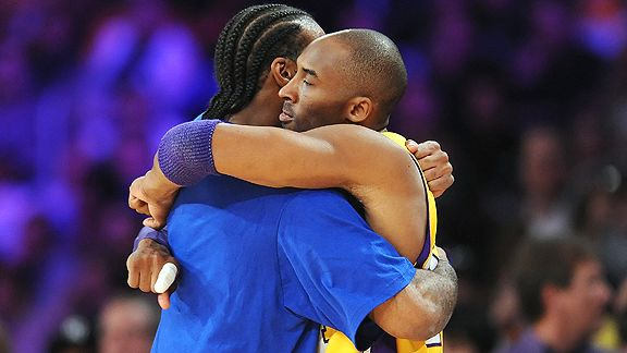 Josh Powell and Kobe Bryant