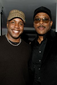 Photo of Tyler Perry & his friend baseball player  Barry Bonds - Los Angeles