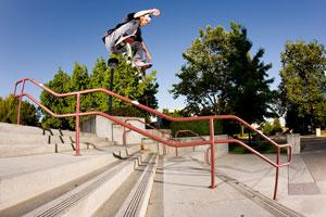 Tony Tave, frontside flip over the rail.