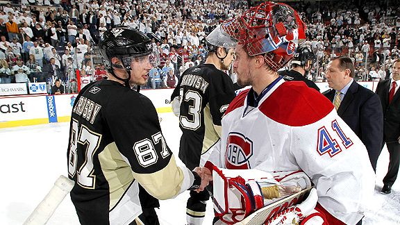Sidney Crosby and Jaroslav Halak