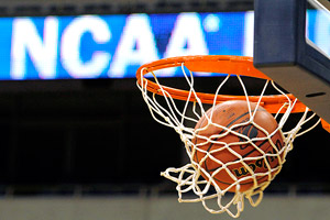 NCAA logo and basketball