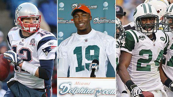 Tom Brady, Brandon Marshall and Darrelle Revis