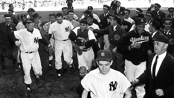 Don Larsen and the Yankees after Larsen's perfect game in the 1956 World Series