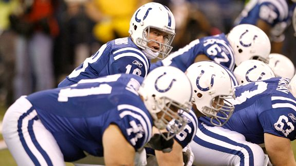 Peyton Manning and the Indianapolis Colts offensive line