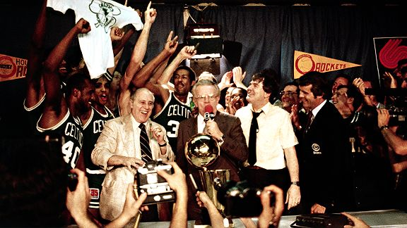 Auerbach, still Celtics GM, after winning the 1980-81 title.