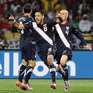 USA's Clint Dempsey celebrates a goal against England