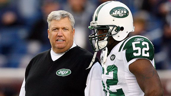 Rex Ryan and David Harris