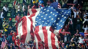 USA soccer fans with giant flag