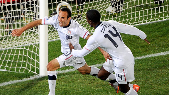 Landon Donovan (10) celebrates with forward Edson Buddle.