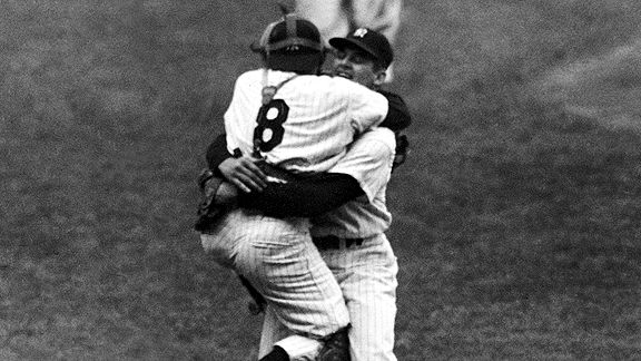 Don Larsen and Yogi Berra after Larsen's perfect game in the 1956 World Series