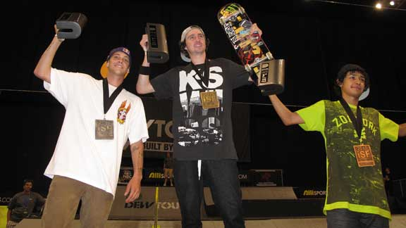 the men's park winners from left: 2nd place Ryan Sheckler, 1st place Greg Lutzka, 3rd place Chaz Ortiz.