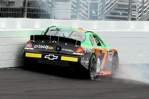Danica Patrick spins the #7 GoDaddy.com Chevrolet into the wall