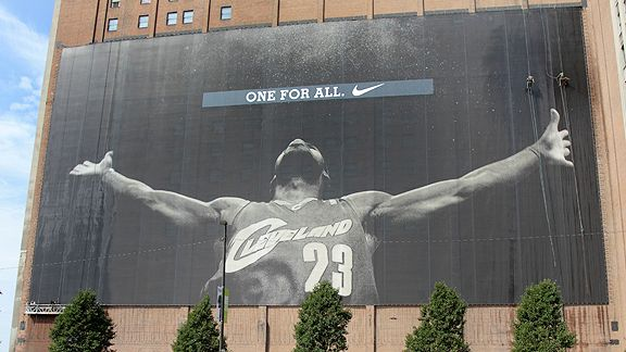 Giant banner of LeBron James in Cleveland