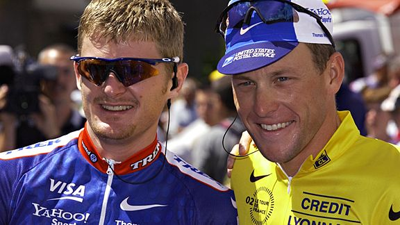 Floyd Landis and Lance Armstrong in 2002