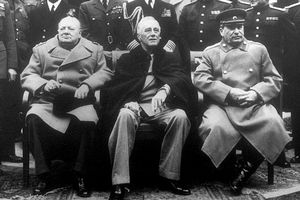 British Prime Minister Winston Churchill, U.S. President Franklin D. Roosevelt and Soviet Premier Josef Stalin