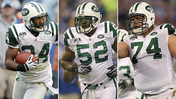 Darrelle Revis, David Harris and Nick Mangold