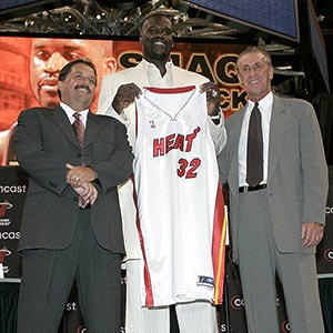 Stan Van Gundy and Shaquille O'Neal and Pat Riley