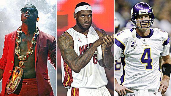 Kanye West, LeBron James and Brett Favre