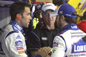 Aric Almirola, Chad Knaus, and Jimmie Johnson