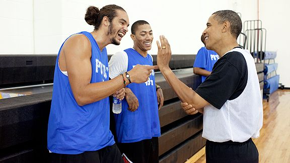 President Obama with Joakim Noah and Derrick Rose