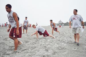 Gloucester athletes training on the beach