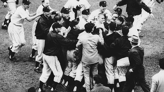 Bobby Thomson mobbed at the plate after the Shot Heard Round the World
