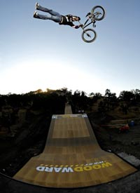 Morgan Wade in the middle of a huge double tailwhip during the opening celebration of the Woodward West MegaRamp.