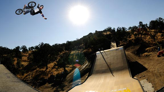 Morgan Wade certainly knows how to properly air the MegaRamp's quarter, but can he stay on the bike?
