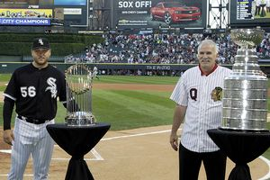 Chicago championship trophies presented prior to the White Sox game