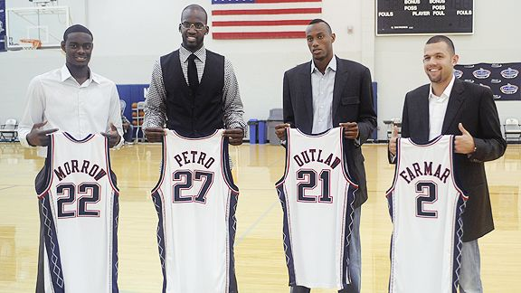 Anthony Morrow, Johan Petro, Travis Outlaw and Jordan Farmar