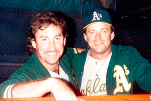 Eric with Andy Hawkins�his final year in baseball, 1991