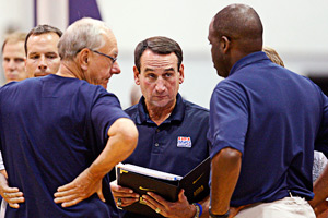 Jim Boeheim, Mike Krzyzewski and Nate McMillan