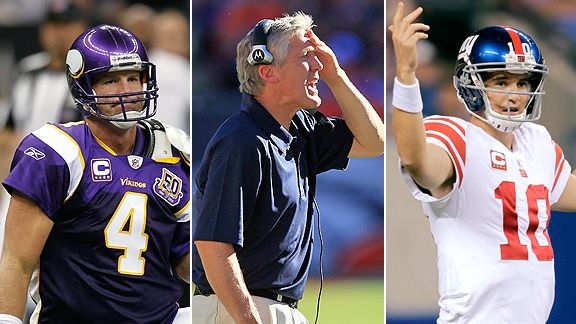 Brett Favre, Pete Carroll and Eli Manning