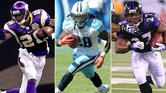 Adrian Peterson of the Minnesota Vikings, Chris Johnson of the Tennesse Titans, Ray Rice of the Baltimore Ravens